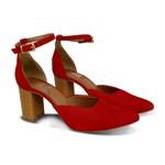 Scarpin Tira De Fivela vermelho - Salto 8 Cm