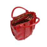 Bolsa Bucket Em Couro Aplicação De Tachas Vermelha