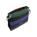 Bolsa Laser Patchwork em Couro Preta/ Azul / Verde Bandeira