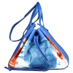 Bolsa Bucket Tie Dye Tie Dye em Couro Azul/branco/ Caramelo