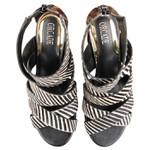 Sandália De Salto Micaela Tiras Cruzadas Mini Zebra / Pelo Onça Salto 8 Cm