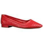 Flat Pietra Couro Estampado Vermelha Salto 1,5cm