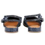 Flat Chanel Pietra Tira De Cristal Marinho Salto 1,5cm