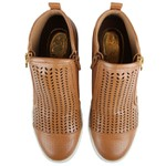 Tênis Siena Sneakers Laser e Zíper Lateral Caramelo Salto 4,5 cm