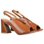 Sandália De Salto Micaela Peep Toe Caramelo Salto 8 cm