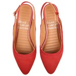 Flat Chanel Pietra Costura Grossa Vermelha Salto 1,5cm