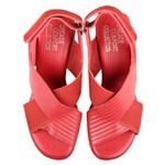 Sandália Martina Cabedal Cruzado Vermelho Salto 5 cm