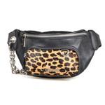 Belt Bag em Couro Corrente Preta / Pelo Onça