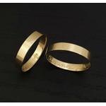 Aliança Reta Noivado e Casamento em Ouro 18k