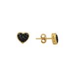 Brinco Coração com Pedras em Ouro 18k