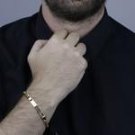 Pulseira Masculina Groumet com Placa em Ouro 18k
