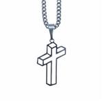 Corrente com Crucifixo Aço Inox Tridimensional