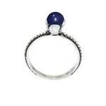 Anel Flor Pedra Jade Azul Prata 925