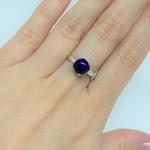 Anel com Pedra Jade Azul Grande Prata 925