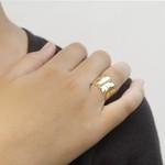 Anel Pena Semijoia Banho de ouro 18K Regulável