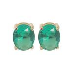 Brinco Oval Banho de Ouro 18k Cristal Verde Esmeralda