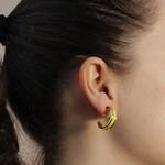 Brinco Argola Coleção Summer Semijoia Banho de Ouro 18K Resina Amarelo Neon