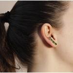 Brinco Ear Cuff Gota Semijoia Banho De Ouro 18k Zircônia Verde