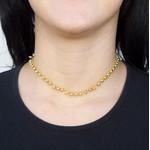 Colar Choker Semijoia Banho de Ouro 18k Mini Bolinhas com Acabamento