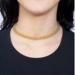 Colar Choker Semijoia Banho de Ouro 18k Mini Bolinhas Duplas com acabamento