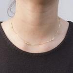 Colar Chocker Estilo Tiffany Banho de Ouro 18k Zircônia Incolor e Fecho Camarão