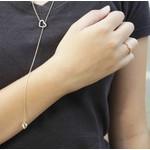 Colar Gravata Semijoia Banho de Ouro 18K Coração de Zircônia Detalhe em Ródio