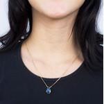 Pingente com Corrente Gota Rainbow Semijoia Banho de Ouro 18k Cristal Azul Duo