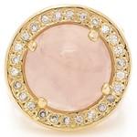 Anel Redondo Semijoia Banho de Ouro 18K Pedra Natural Quartzo Rosa e Cravação de Zircônias