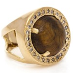 Anel Redondo Semijoia Banho de Ouro 18K Pedra Natural Olho de Tigre e Cravação de Zircônias