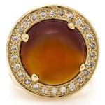 Anel Redondo Semijoia Banho de Ouro 18K Pedra Natural Ágata e Cravação de Zircônias