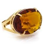 Anel Oval Cristallo Semijoia Banho de Ouro 18K Cristal Topázio Imperial