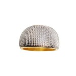 Anel Largo Semijoia Banho de Ouro 18K Falsa Pedra Detalhe em Ródio