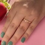 Anel Solitário de Noivado Ouro 18k com Diamante Modelo Mia Anima