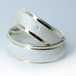 Aliança de Compromisso 6mm 10g Diamantada e Filetes de Ouro Modelo Eternal