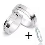 Aliança de Compromisso Prata 950 6mm Lisa Com Zircônias + Aparador De Prata