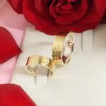 Aliança em Ouro 18k Revestida 6mm Modelo Guardian Crystal
