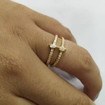 Anel Noivado Ouro 18k Com Diamantes Legítimos