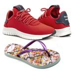 Kit Tênis Têxtil Mesh Elástic + Chinelo Color Feminino Macio Vermelho