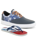 Kit Sapatênis Floral Polo North Infantil Com Chinelo Azul Floral Azul