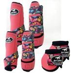 Kit Completo Boots Horse Color Cloche e Caneleira Dianteiro e Traseiro - Rosa / velcro Estampado 21