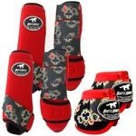 Kit Completo Boots Horse Color Cloche e Boleteira Dianteira e Traseira - Vermelho / velcro Estampado 14