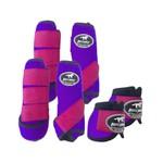 Kit Completo Boots Horse Color Cloche e Boleira Dianteira e Traseira - Roxo / rosa