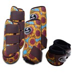 Kit Completo Boots Horse Color Cloche e Caneleira Dianteiro e Traseiro - Estampa A19 / Velcro Marrom