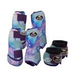 Kit Completo Boots Horse Color Cloche e Caneleira Dianteiro e Traseiro - Estampa 35 / velcro roxo e azul