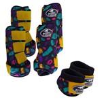 Kit Completo Boots Horse Color Cloche e Caneleira Dianteiro e Traseiro - Estampa A10 / Velcro Amarelo