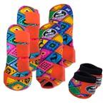Kit Completo Boots Horse Color Cloche e Caneleira Dianteiro e Traseiro - Estampa A13 / Velcro Laranja