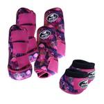 Kit Completo Boots Horse Color Cloche e Caneleira Dianteiro e Traseiro - Estampa A07 / Velcro Rosa