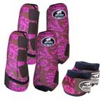 Kit Completo Boots Horse Color Cloche e Bolteira Dianteira e Traseira - Estampa 32 Rosa / Velcro marrom