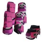 Kit Completo Boots Horse Color Cloche e Bolteira Dianteira e Traseira - Estampa 33 Rosa / Velcro rosa