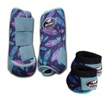 Kit Simples Color Boots Horse Cloche e Caneleira - Estampa A29 / Velcro Azul Bebê